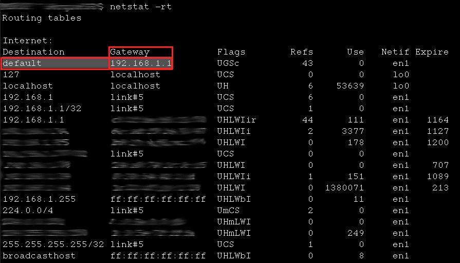 Terminal macOS - Comando netstat -rt
