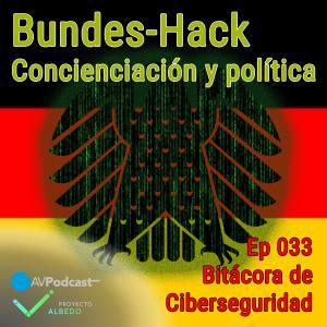 Carátula del episodio 33 de Bitácora de Ciberseguridad - Bundes-Hack. El fondo es la bandera alemana con el águila federal con la textura de la película Matrix. Sobreimpreso el título del episodio y del podcast.