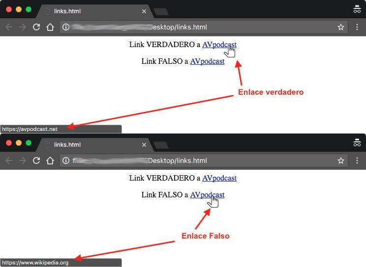 Dos capturas de pantalla de chrome, cada una con el cursor sobre un enlace para enseñar a donde dirigen